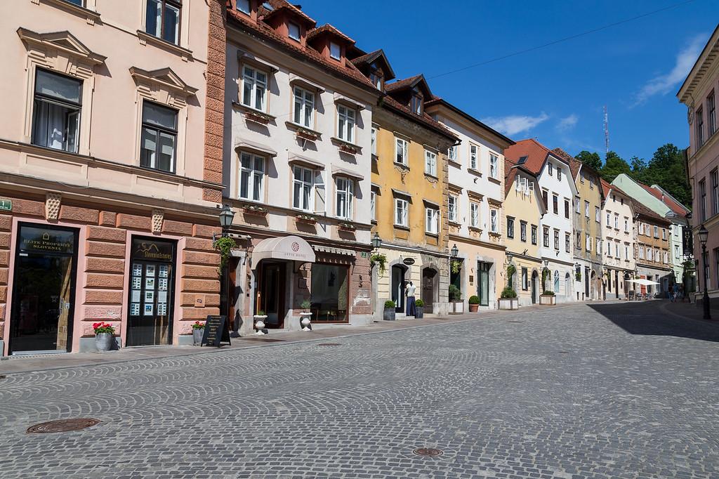 Streets in Ljubljana during the day