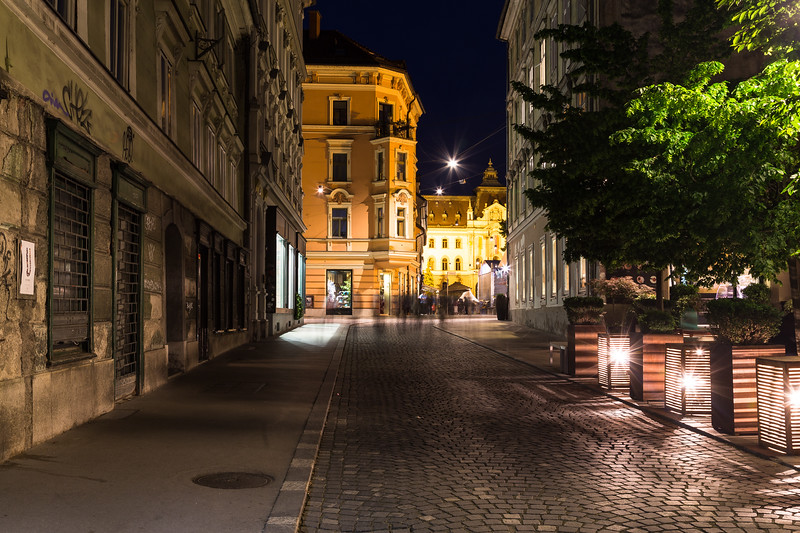 Streets of Ljubljana at night