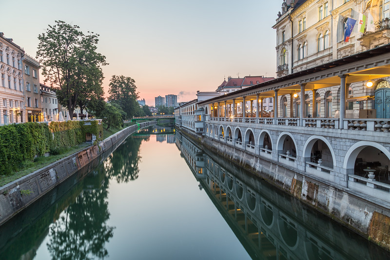 Ljubljana Central Market from the River in the morning