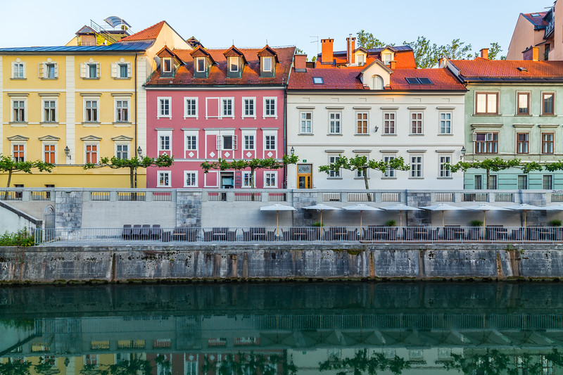 Buildings along the Ljubljana River