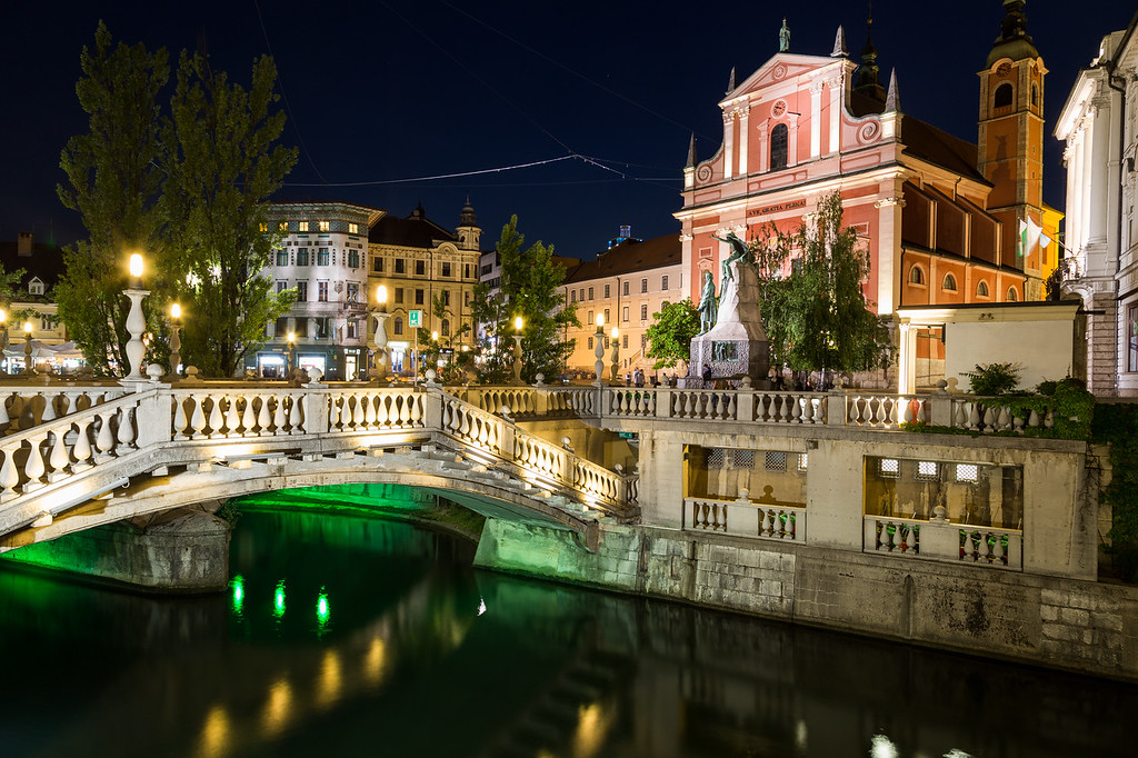 Franciscan Church of the Annunciation and the Triple Bridges  in Ljubljana