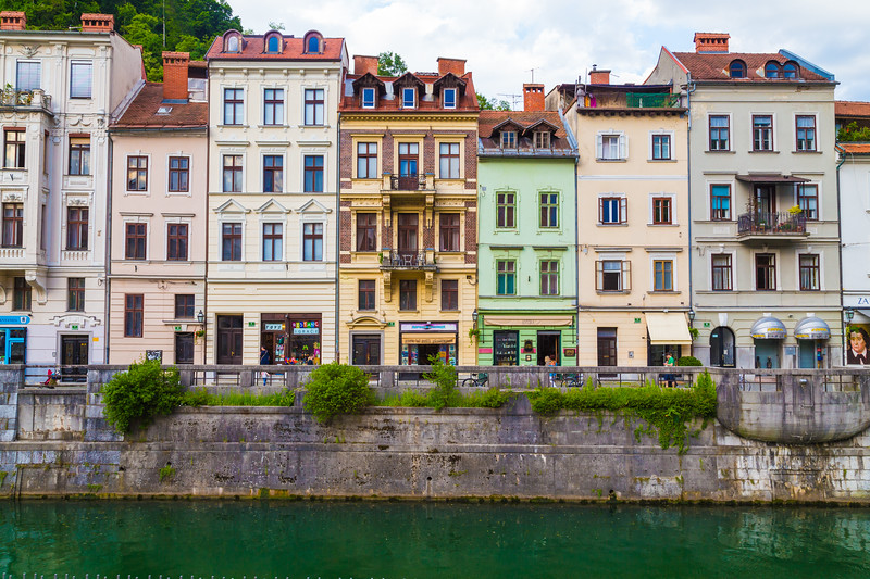 Various buildings in Ljubljana along the river.