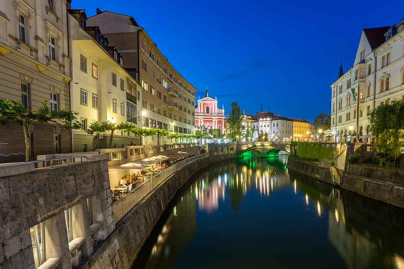 Ljubljana canal towards the Franciscan Church of the Annunciation and Preseren Square