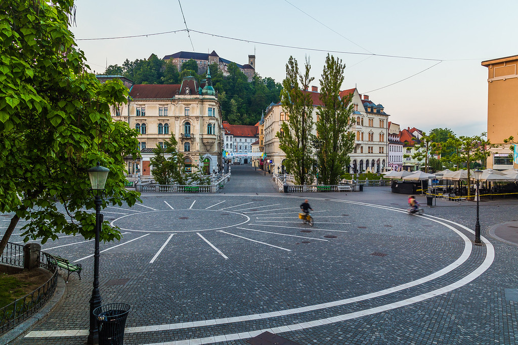 Town Square, Ljubljana Castle and Triple bridges in Ljubljana