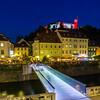 View towards Ljubljana Castle at night