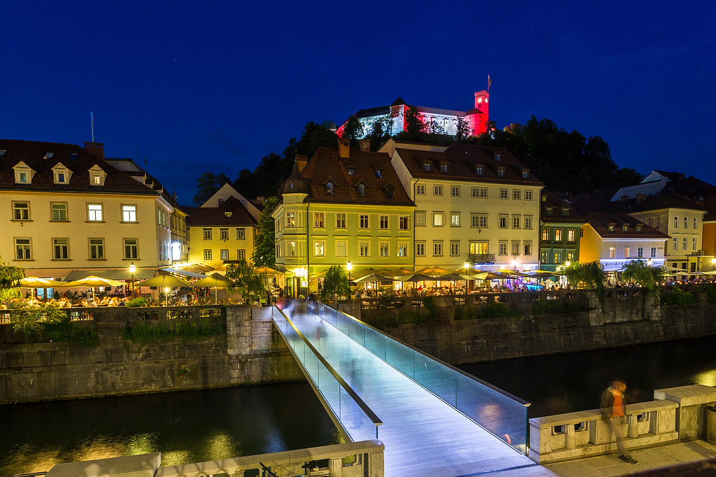 View towards Ljubljana Castle at night