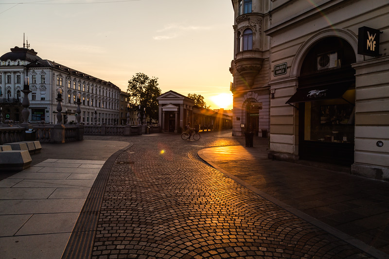 Streets of Ljubljana in the morning
