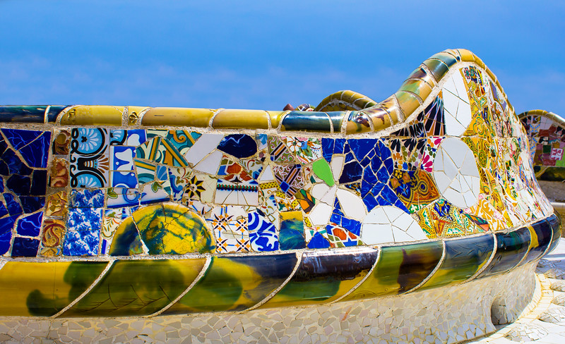 Mosaic Wall in Park Guell Barcelona