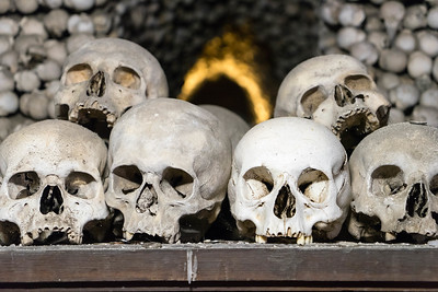 Some of the 40,000 skeletons interred at the Sedlec Ossuary in Kutna Hora, Czech Republic