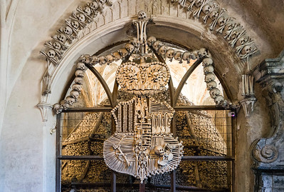 The Schwarzenberg family shield made of bones, Sedlec Ossuary.