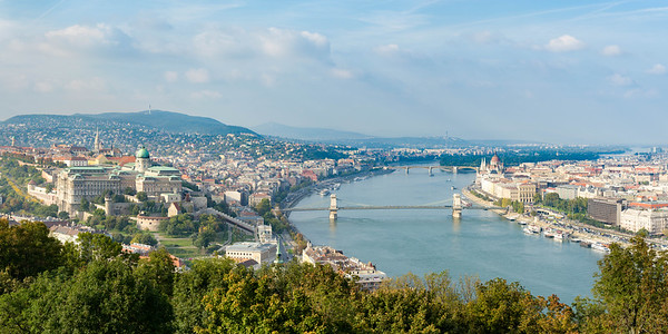Budapest palace and Chain Bridge across the Danube