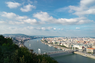 View of the Danube as it cuts between the two halves of Budapest.