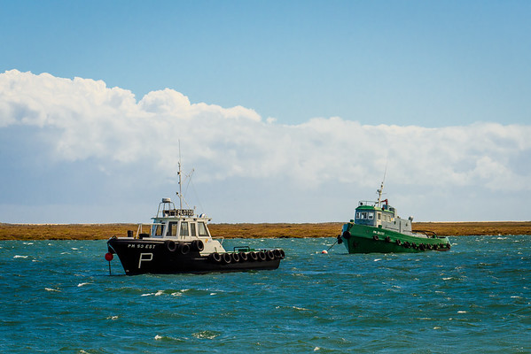 Pilot boats moored in the Ria Formosa Estuary, Faro Algarve