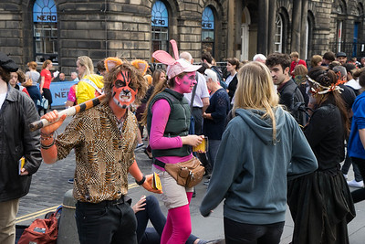 Performers on The Royal Mile during Edinburgh Festival Fringe