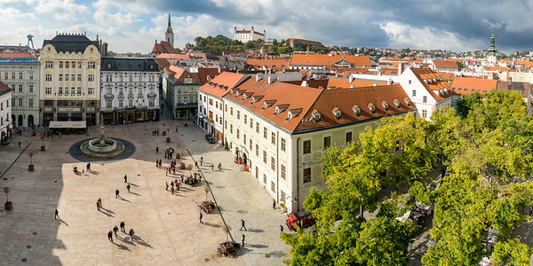 Old Town Hall square with the castle in the background, Bratislava.