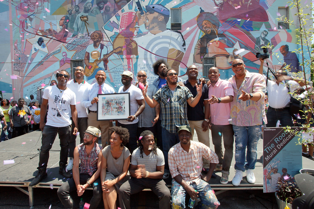 The Roots, Mayor Michael Nutter and the artists behind The Roots mural: Legendary as the mural is dedicated in Philadelphia.