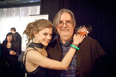Actress Rebekah Brandes and Simpsons creator Matt Groening at the 2011 Sundance Film Festival Awards Ceremony. Groening was a judge for Resurrect Dead, the movie that brought me to Sundance that year. He helped it take home the award in the photo above this one.