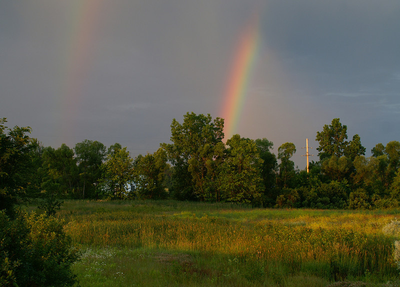 """Double Rainbow"" - This image of a double rainbow was taken in Davison, Michigan"