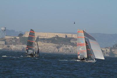 Skiff Racing in front of Alcatraz; America's Cup 2013