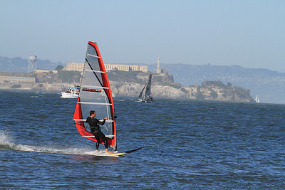 Windsurfing in San Francisco Bay; America's Cup 2013