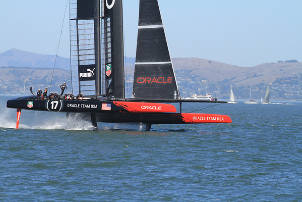 USA Oracle on her foils; America's Cup 2013