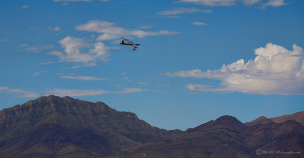B-52 bomber over mountains