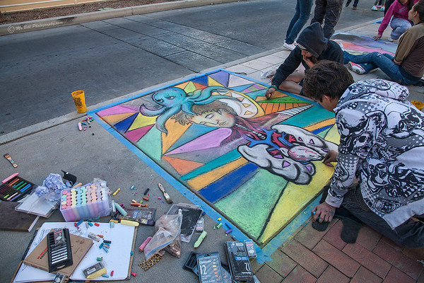 Artist during Chalk the Block 2012