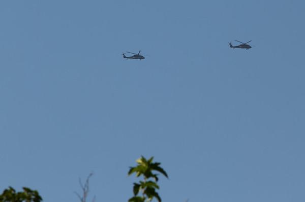 Pair of distant Sikorsky UH-60 Black Hawk