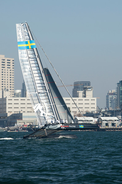 The America's Cup Trials in San Diego harbor, in AC45 Catamarans.  Artemis flies a hull.