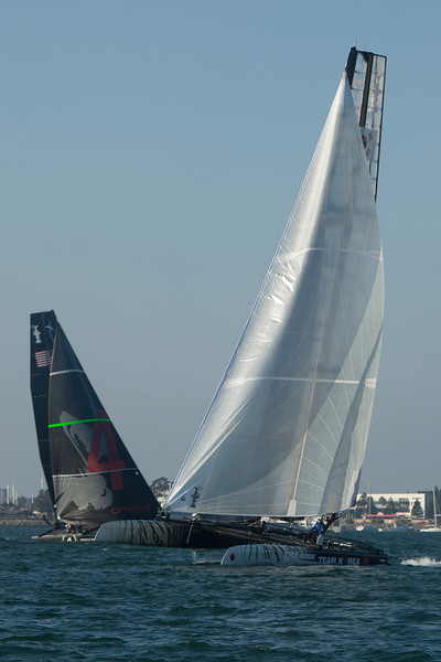 The America's Cup Trials in San Diego harbor, in AC45 Catamarans. The Korean entry crosses in front of a competitor before the start.