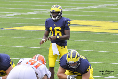 Denard Robinson rushed for 129 yards and two scores