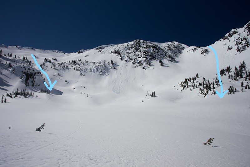 Rock Mountain, East Spur, East Face Descent Routes.  (Left Route is from bootpack, right route traverses behind cliffs)