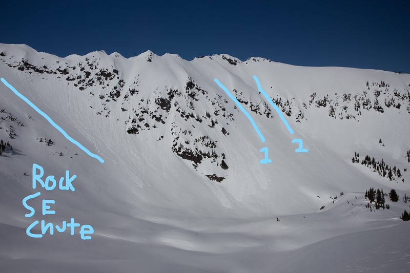 Rock Mountain, East Spur - South Face (SE Chute, Chute 1, Chute 2)