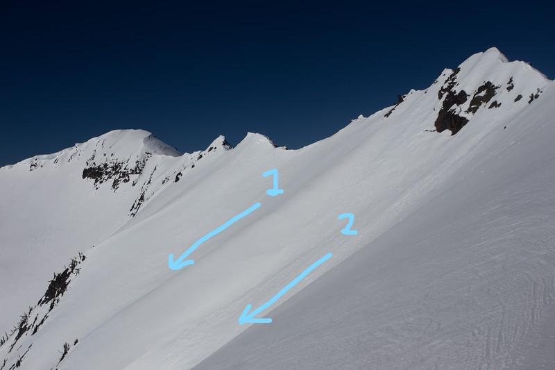Rock Mountain, East Spur, Chute 1 and Chute 2 entrances