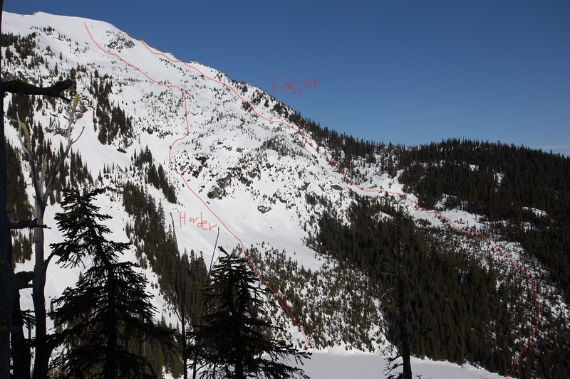 East face of Mount Mastiff.  Two options down.