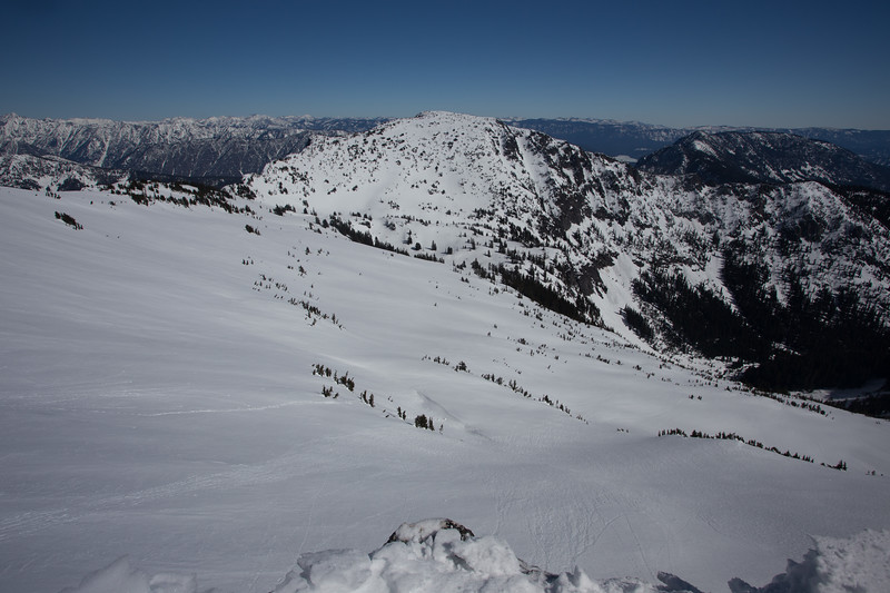 West Face of Mount Mastiff in background, East face of Howard in Foreground.