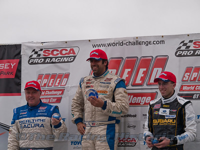 Jason Saini (Winner), Peter Cunningham (2nd), and Andrew Aquilante (3rd) on the Podium after the SPEED touring Car Championship race.