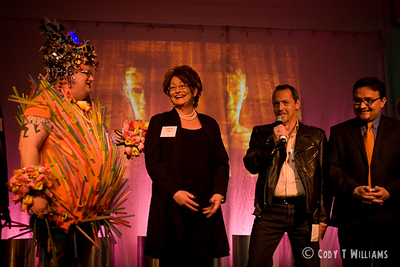 Soireé 8, celebrating the San Francisco LGBT Community Center's eighth Anniversary hosted by Theresa Sparks, David Campos, special guests Jackie Beat and Bruce Vilanch.  Featured performances by: Barnaby's (sfBoylesque), Fauxnique, Miss Rahni, Precious Moments, Zoe Balfour & Citabria Phillips, Suppositori Spelling, Taiko Ren, Trixxie Carr and Veronica Klaus. Held in the San Francisco Design Galleria, April 10, 2010. © Cody T Williams.