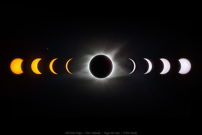 "2-hour composite of partial eclipse phases leading into and out of totality taken in Crete, Nebraska on August 21st 2017. Both types of solar filters were used, creating yellow and white light suns. It appears that the moon ""stole"" the sun's color during the eclipse. At center, 9 images of totality were combined using advanced processing techniques to reveal details in the corona. The structure and direction of the coronal plasma streams are controlled by the sun's magnetic fields, which makes visible its north and south poles.  The quad-star system known as Regulus is seen at left.  You may notice that the right side of the moon has some red light cast on it. That is caused by the prominence activity from the chromosphere casting red glare onto the moon and into the corona. The rest of the corona is seen in its natural gray/green glow.  18 images were used and the final image size is 54 megapixels. 3x2 format."