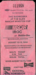 1988 Watkins Glen Budweiser at the Glen NASCAR Ticket Stub.