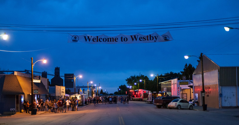 Welcome to Westby with Abbey Road at Twilight wide view