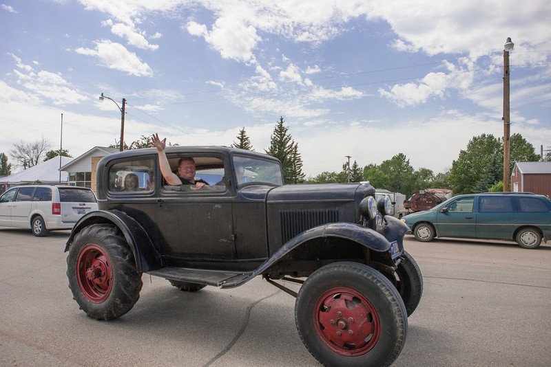 Loren, Dave and Shayla take the 1920's tractor for a spin