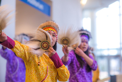 Members of a Dillingham high school Native dance ensemble perform during the 2012 Honorary Degree Recipients dinner during commencement weekend in the University of Alaska Museum of the North.  Filename: GRA-12-3409-119.jpg