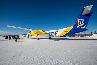 One of Alaska Airlines' newest aircraft is a Bombardier Q400 turboprop featuring the Alaska Nanooks and UAF.  Filename: DEV-14-4080-70.jpg