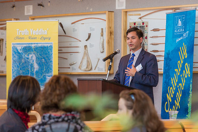 Aaron Schutt, president and CEO of Doyon, Ltd, speaks during a gathering at the Doyon Building in downtown Fairbanks to help generate interest in the Troth Yeddha' development project at UAF.  Filename: DEV-14-4107-98.jpg