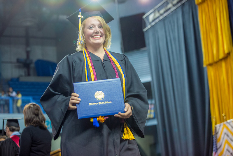 "Iris Fletcher is pretty happy after accepting her bachelor of science degree in fisheries during UAF's commencement ceremony May 11 in the Carlson Center.  <div class=""ss-paypal-button"">Filename: GRA-14-4186-0657.jpg</div><div class=""ss-paypal-button-end"" style=""""></div>"