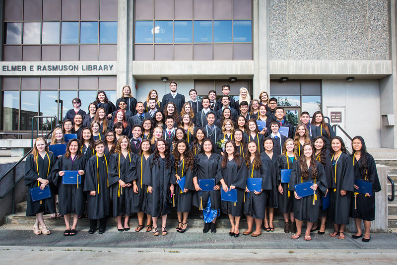 """Participants in UAF's 2016 Rural Alaska Honors Institute gather in front of the Rasmuson Library after their graduation ceremony Thursday, July 14, 2016.  <div class=""""ss-paypal-button"""">Filename: GRA-16-4932-166.jpg</div><div class=""""ss-paypal-button-end""""></div>"""
