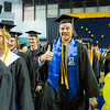 """Dallen Bills gives thumbs up during the recessional at 2014 Commencement Ceremony. Bills receives a B.A., in Psychology, magna cum laude.  <div class=""""ss-paypal-button"""">Filename: GRA-14-4187-339.jpg</div><div class=""""ss-paypal-button-end""""></div>"""
