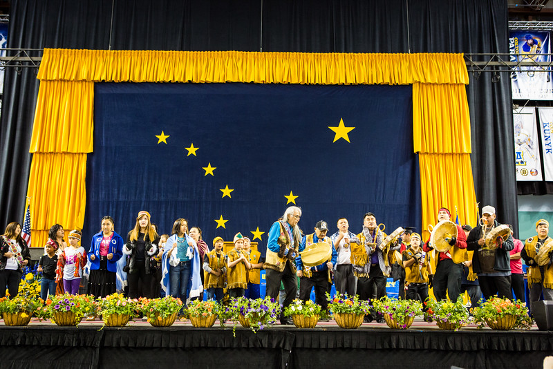 """Tanacross Dancers led the processional and performed onstage at commencement, May 8, 2016 at the Carlson Center.  <div class=""""ss-paypal-button"""">Filename: GRA-16-4896-164.jpg</div><div class=""""ss-paypal-button-end""""></div>"""