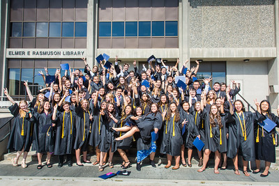 Participants in UAF's 2016 Rural Alaska Honors Institute gather in front of the Rasmuson Library after their graduation ceremony Thursday, July 14, 2016.  Filename: GRA-16-4932-193.jpg
